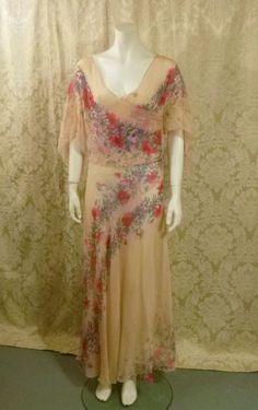 1930s Sheer Crepe Chiffon Floral Tea Gown Vintage Dress is now available at www.theredvelvetshoe.com  #1930s