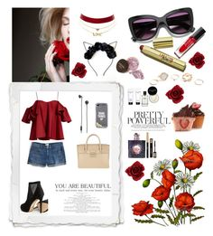 """""""red rose"""" by miss-yuna ❤ liked on Polyvore featuring Anna October, J.Crew, ALDO, GUESS, Charlotte Russe, Kate Spade, Furla, Urbanears, Yves Saint Laurent and Bobbi Brown Cosmetics"""