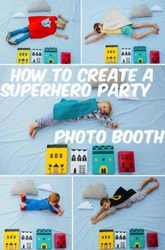 How fun is this?  Superhero photo-ops for a party!