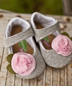 Look at this Gracious May Gray & Pink Rosebuds Mary Jane on #zulily today!