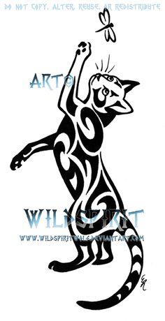 Cat And Dragonfly Tattoo by WildSpiritWolf.deviantart.com on @deviantART