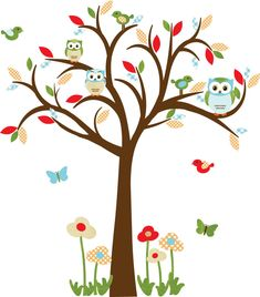 Owl decal, Nursery Decal, Childrens wall Decal, Owl tree wall sticker, owl wall decal, nursery owl decor, Summertime Design. $88,00, via Etsy.