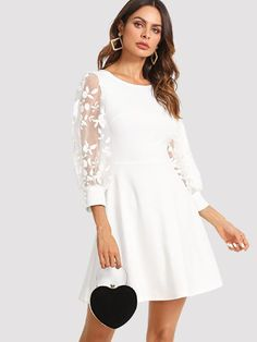 e746c3bb91f Embroidered Mesh Bishop Sleeve Fit   Flare Dress -SheIn(Sheinside) White  Dress With
