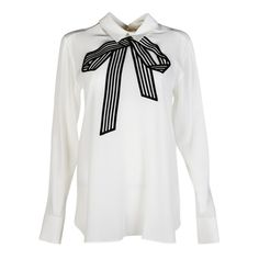 Stella McCartney Bluse found on Polyvore featuring tops, shirts, long sleeve tops, silk blouses, long sleeve blouse, white blouse and stella mccartney top
