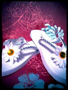 White Fancy Flip Flops with rhinestones & a flower by fancyflop, $30.00