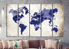 Navy Blue Large Push Pin World Map Wall Art Canvas, Print Large Wall Art Watercolor World Map Art Large Map, Print Extra Large Wall Art World Map Canvas, World Map Wall Art, Large Canvas Prints, Art Prints, Water Color World Map, Extra Large Wall Art, Animal Nursery, Large Painting, Modern Wall Art