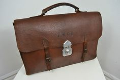 VINTAGE 1940's ENGLISH MADE BROWN LEATHER BRIEFCASE CASE ATTACHE SATCHEL