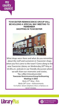 Towcester Library Reminiscence Group.