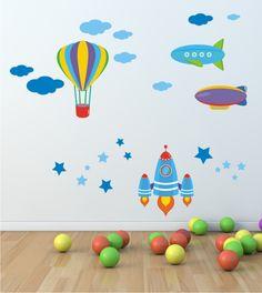 Raumfahrt Wandsticker, Sticker, Wandtattoo, Heißluftballon, Rakete, Zeppelin, Wandaufkleber Himmel