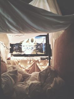 Date night in a homemade fort.
