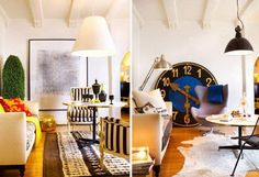 Lavish Eclectic Style Designer Rooms Striking Wall Art and Matching Rugs