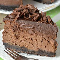 Decadent Triple Chocolate Cheesecake with Oreo Crust