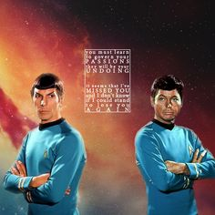 "Spock and Leonard ""Bones"" McCoy SubCategory: I. Cannot. Even. With The Feels for My Two Bbies."