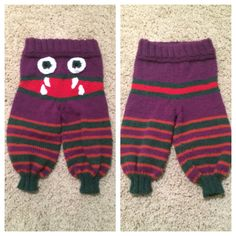 Finally finished #knitting the monster baby pants!! Pattern Here: http://remilyknits.com/2011/01/07/fo-friday-monster-bum-baby-longies/ AND http://thewanderinglady.blogspot.com/2010/03/monster-longies-pattern.html?m=1