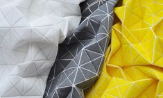 A textile design specialist, Barr developed the Geo pattern based on the world of Origami paper-folding. Geo is the implementation of hard and angular geometric shapes into soft fabrics.