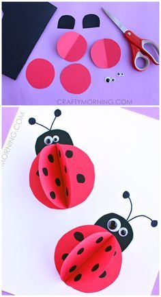 3D paper ladybug craft for kids to make this summer!   CraftyMorning.com