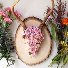 Pink floral antler mount by Gypsydaydream on Etsy