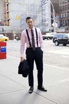 Corporate—Midnight navy suit, midnight navy braces, pink micro check shirt, and grey wool tie all by MAB (custom made). Watch by Montblanc. 2″ tie bar by Tiffany & Co. Leather/suede spectator lace-ups by Barker Black.