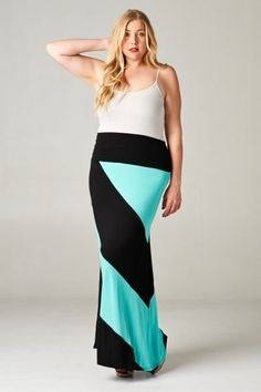 Plus Size Color block Maxi Skirt #Emerald #Maxi