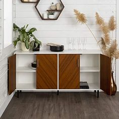Walker-Edison-Furniture-Company-Mid-Century-Modern-Bookmatched-Universal-Stand-for-TVs-up-to-64-Living-Room-Storage-Entertainment-Center-58-Inch-White
