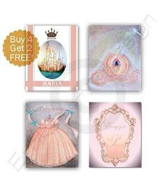 Princess Peach Name Art SET 4 Baby Girl Nursery Cinderella