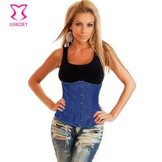 3fb31cdabeb Denim Sexy Corsets Bustier Tops Gothic Underbust Corselet Waist Trainnig  Corsets And Bustiers Women Fashion Shaper Clothing