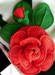 The Tunisian knitting - Crochet Modnoe Vyazanie Crochet Small Flower, Crochet Cactus, Crochet Flower Patterns, Love Crochet, Crochet Flowers, Knit Crochet, Yarn Flowers, Small Flowers, Red Flowers