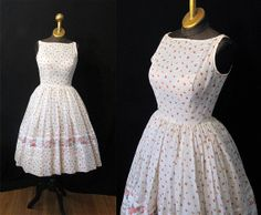 """Sweet 1950's Sheer Cotton Voile Floral Rosebud Print Dress by """"I.Magnin & Co."""" Cupcake Party Dress VLV Rockabilly Size-Small"""