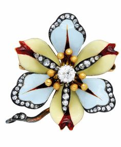 An Antique Enamel and Diamond Floral Brooch, circa 1890  Designed as a flower with pastel-coloured blue and yellow enamel petals accented by red tips, centering an old European-cut diamond amid tiny beads, with small rose-cut diamond trim, mounted in silver and gold