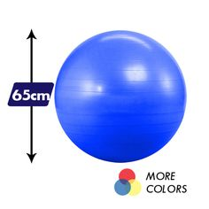 """Kick your floor routine up a notch when you incorporate a 65cm Anti-Burst Yoga Balance Ball! Our top quality Pilates balls are perfect for resistance routines and core work. Made from durable and slip-resistant vinyl, this exercise ball is designed to withstand up to 600 pounds of pressure. Swiss balls ship deflated and come with a handy air pump so you can inflate and get crunching in minutes! This yoga ball should be the right size for most people: from 5'4' to 5'10"""" tall."""