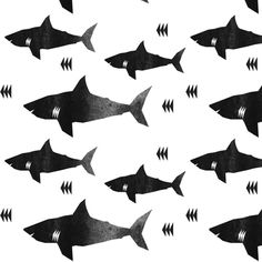 Buy shark attack - elvelyckan custom fabric, wallpaper and home accessories by elevenhatsdesign on Spoonflower Monochrome, Soft Blankets, Organic Baby, Organic Cotton, Custom Fabric, Fabric Shop, Decoration, Fabric Patterns, Spoonflower
