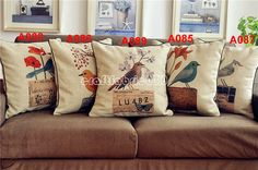 "French Country Retro Vintage Floral Bird Animial  Cotton Linen Decorative Pillows Cushion Cover Pillow Cover Sham 20""x20"""