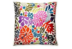 One Kings Lane - Fun & Fanciful - Hibiscus 20x20 Embroidered Pillow, Multi