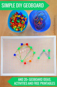 Super Simple DIY Geoboard Plus 20+ Geoboard Ideas, Activities and Free Printables.