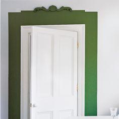 Living room door with green border