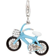 Sterling Silver White and Blue Enamel Bicycle Charm - Free Shipping On Orders Over $45 - Overstock.com - 14165402
