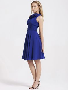 Floral Detail Jewel Neckline Chiffon Bridesmaid Dress | Plus and Petite sizes available! Hundreds of styles, tons of colors!