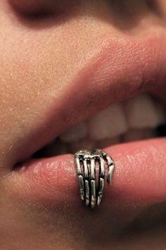 skeleton hand Lip ring