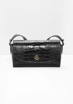 & Other Stories | Croco Embossed Small Leather Crossbody | Black