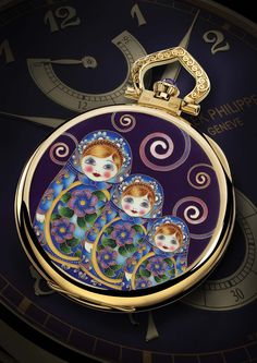 Patek Philippe Matryoshka Dolls Enamel Pocket Watch reference 982/130J in yellow gold open-faced pocket watch, decorated with cloisonné and miniature enamel.