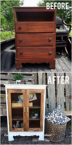 DIY Farmhouse Display Cabinet From Old Chest of Drawers. Turn this little chest of drawers into the cutest little farmhouse display cabinet with a bit of woodworking skills. makeover diy dresser Come trasformare dei vecchi mobili, in oggetti da design! Refurbished Furniture, Repurposed Furniture, Painted Furniture, Furniture Decor, Furniture Design, Furniture Plans, Garden Furniture, Farmhouse Furniture, Furniture Stores
