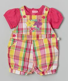 Look what I found on #zulily! Pink Plaid 'Love Bug' Tee & Shortalls - Infant by Duck Duck Goose #zulilyfinds