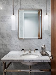 A guest bathroom inside a New York penthouse by ODA New York. Photography by Frank Oudeman/Otto.