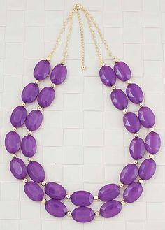 Amethyst purple double layer statement necklace from EarringsNation Amethyst Wedidngs Purple Weddings
