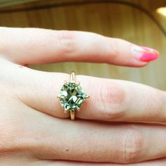 New 4 ct grey-green tourmaline solitaire / Larisa Laivins