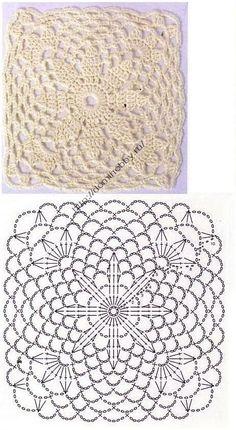 tons of beautiful squares w/diagrams                 Квадратный мотив крючком 20