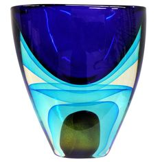 Italy late 20th Century  Murano glass vase by Romano Dona for Cenedese made using the Sommerso Massiccio technique. The vase is extremely heavy at somewhere are 30lbs. Signed on the bottom.