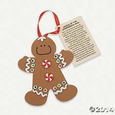 "Gingerbread Man Ornaments | Legend of the Gingerbread Man"" Christmas Ornament Craft Kit"