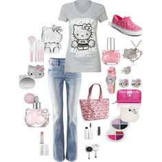 hello kitty, created by jenna-vanhooser on Polyvore