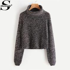 Sheinside Roll Neck Raglan Sleeve Marled Knit Jumper 2017 Turtleneck Long Sleeve Loose Pullovers Sweater Women Work Sweater #Sheinside #sweaters #women_clothing #stylish_sweater #style #fashion